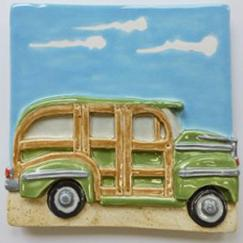 woody station wagon, woody station wagon tile, Nantucket woody tile