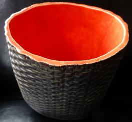 basket weave ceramic, Nantucket ceramics, hand made on Nantucket, hand made basket weave vessel