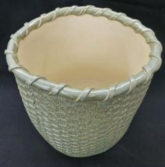 ceramic gathering basket, basket weave ceramic, basket weave ceramic basket, made on Nantucket
