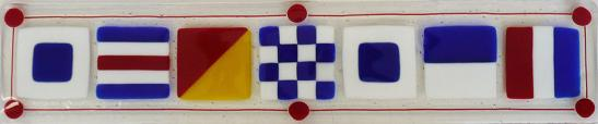 Sconset Signal Flags Long Tray Primary Colors, Sconset, glass signal flag, glass Nantucket, Nantucket signal flag