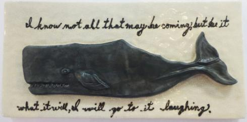 bas relief tile, made on Nantucket, Nantucket right whale tile, ceramic whale tile with text, whaling tile with text
