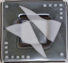 "White Ghost Irid 10"" x 10"" Plate, Nantucket glass, hand made glass, Nantucket hand made glass."